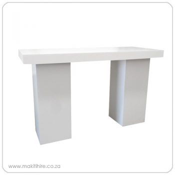 white cocktail plinth table