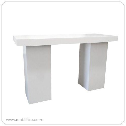 white cocktail plinth table