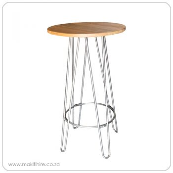 cocktail table with metal legs and round wooden top