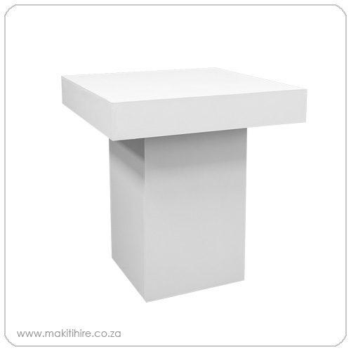 white plinth café table