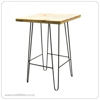Cocktail table with metal legs and wooden top