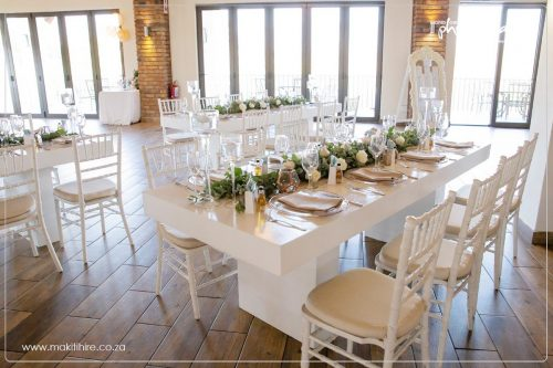 white banquet table in wedding reception