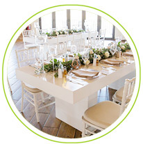 white table at wedding reception