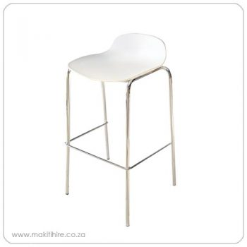 bar chair with chrome legs and white seat